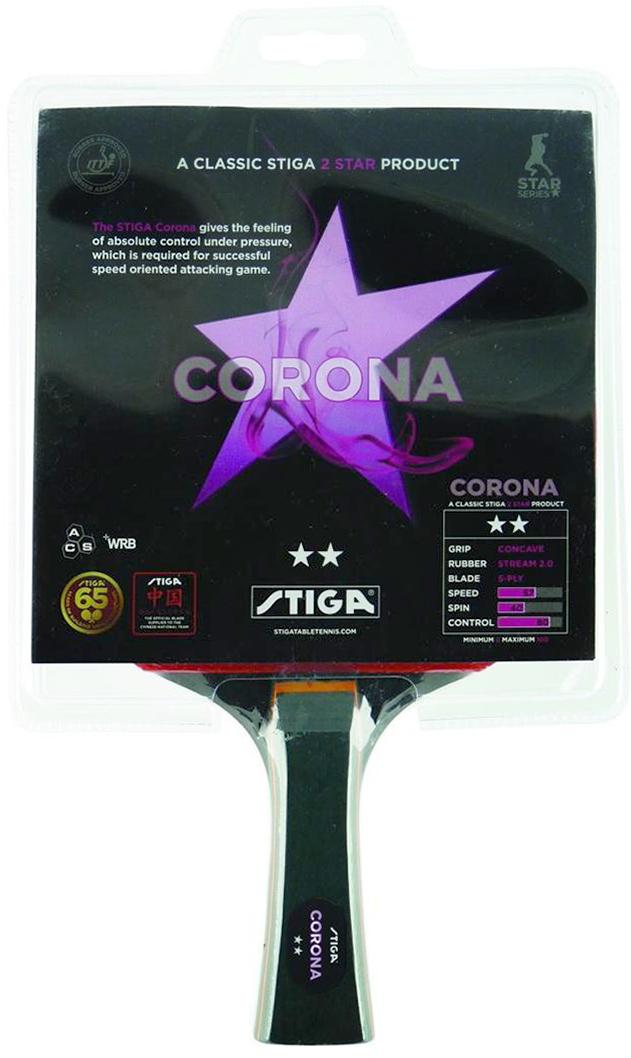Ракетка для настольного тенниса Stiga Corona WRB1641-01Основание ракетки собрано из 5-и слоев шпона Американской липы и Серебристого тополя с применением технологии WRB. Накладки: Drive с технологией ACS, губка 1А 2, 0мм. Ракетка Corona дает чувство неограниченного контроля при атаке, которое требуется для успешной, атакующей и скоростной игры.