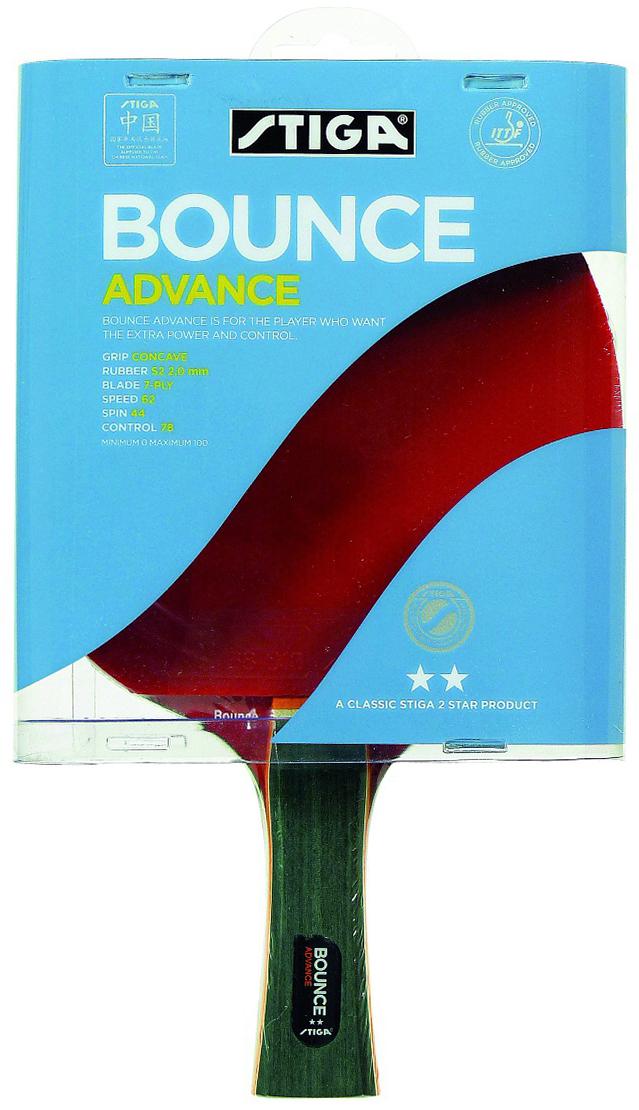 Ракетка для настольного тенниса Stiga Bounce Advance WRB1688-01Полупрофессиональная ракетка Bounce Advanced от производителя Stiga была разработана в 2011 году. Главной особенностью изготовления модели стало использование технологии WRB, обеспечивающей оптимальный баланс веса. Воздушная полость внутри ручки также снижает вес ракетки, одновременно увеличивая ее скорость и вращение. В нашем интернет-магазине вы можете купить ракетку для тенниса массой в 200 грамм.
