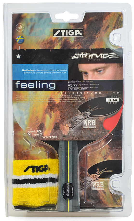 Ракетка для настольного тенниса Stiga Feeling, с напульсником1710-01Для начинающих игроков в теннис компания Stiga разработала ракетку Feeling WRB. Модель создана под атакующий стиль. Удобная ручка имеет расклешенную форму, поэтому ее удобно держать. Основание исполнено из качественного шпона, уложенного в пять слоев. Вы можете купить ракетку для тенниса со скоростью 10 в нашем интернет-магазине. Ракетка Feeling WRB – превосходный выбор атакующих игроков.