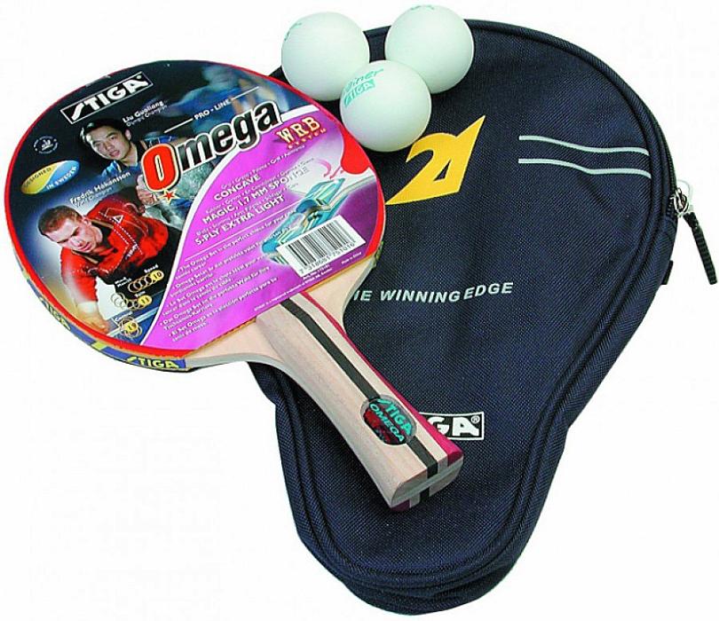 Набор для настольного тенниса Stiga Omega WRB, 5 предметов1751-01Ракетка Omega WRB обеспечивает дополнительную силу удара и чувствительность к касанию мяча. Наилучшим образом подходит игрокам-любителям, нуждающимся в дополнительном контроле. Чехол будет сохранять Вашу ракетку от лучей солнца и влаги. Отличный подарок к любому празднику. Мячи Trainer (3 штуки) – хорошие тренировочные мячи 40 мм