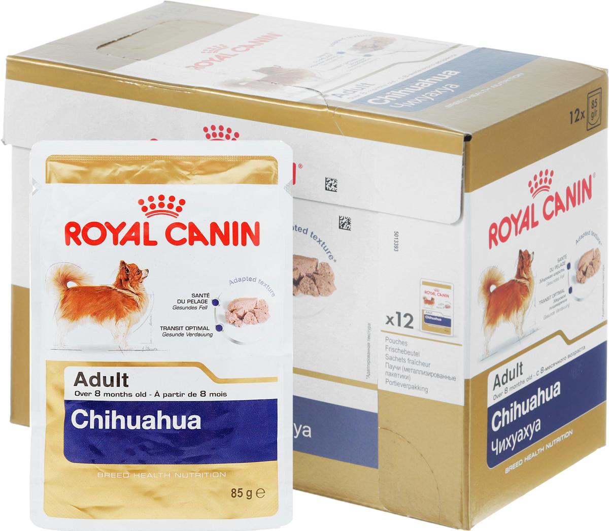 Консервы Royal Canin Chihuahua Adult, для собак породы чихуахуа старше 8 месяцев, паштет, 85 г,10 шт60619Консервы Royal Canin  Chihuahua Adult специально созданы для собак чихуахуа в возрасте старше 8 месяцев. Высокая вкусовая привлекательность. Стимулирует аппетит даже у самых разборчивых чихуахуа, благодаря отборным натуральным ароматизаторам и специальной адаптированной текстурой.Оптимальная работа пищеварительной системы. Корм способствует поддержанию здоровья пищеварительной системы.Здоровье кожи и шерсти. Продукт содержит питательные вещества, которые помогают поддерживать идеальное состояние кожи и шерсти. Состав: мясо и мясные субпродукты, злаки, субпродукты растительного происхождения, масла и жиры, минеральные вещества, углеводы.Добавки (в 1 кг): витамин D3: 190 ME, железо: 13 мг, йод: 0,24 мг, марганец: 4,1 мг, цинк: 41 мг.Товар сертифицирован.