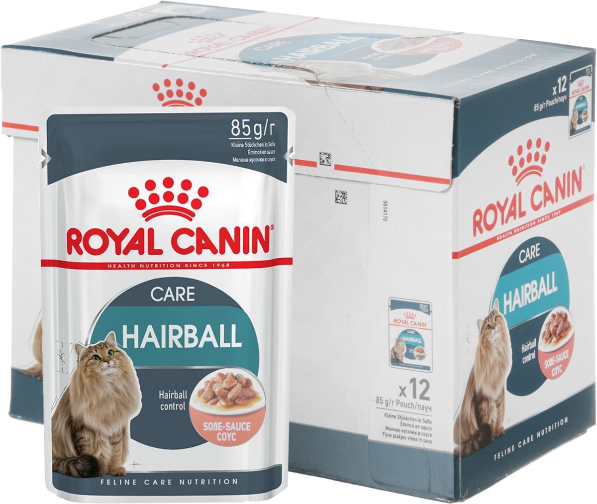 Консервы Royal Canin Hairball Care, для взрослых кошек, мелкие кусочки в соусе, 85 г, 12 шт59641Консервы Royal Canin Hairball Care, специально созданные для взрослых кошек, способствуют выведению волосяных комочков. Кошки уделяют очень много времени уходу за шерстью. Они спонтанно проглатывают большое количество выпавшей шерсти, которая имеет тенденцию скапливаться в желудочно-кишечном тракте, формируя волосяные комочки. Часто это приводит к рвоте или чувству дискомфорта в кишечнике.Hairball Care - тщательно сбалансированная формула, помогающая естественным образом снизить риск образования волосяных комочков. Эксклюзивный комплекс, включающий комбинацию различных видов пищевой клетчатки, в том числе семя подорожника Psyllium, богатое растительной слизью, а также нерастворимую клетчатку, способствует стимуляции кишечного транзита. В результате проглоченная шерсть не скапливается в желудке и не отрыгивается, а регулярно выводится с фекалиями через кишечник.Баланс минеральных веществ продукта поддерживает здоровье мочевыводящих путей взрослой кошки. Состав: мясо и мясные субпродукты, злаки, субпродукты растительного происхождения, экстракты белков растительного происхождения, масла и жиры, минеральные вещества, углеводы, дрожжи. Добавки (в 1 кг): витамин D3: 150 ME, железо: 2 мг, йод: 0,3 мг, марганец: 0,6 мг, цинк: 6 мг. Товар сертифицирован.Уважаемые клиенты! Обращаем ваше внимание на возможные изменения в дизайне упаковки. Качественные характеристики товара остаются неизменными. Поставка осуществляется в зависимости от наличия на складе.