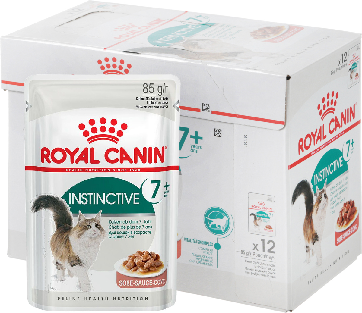 Консервы Royal Canin Instinctive +7, для кошек старше 7 лет, мелкие кусочки в соусе, 85 г, 12 шт40788Консервы Royal Canin Instinctive +7 - полнорационное питание в виде мелких кусочков в соусе для кошек старше 7 лет. У кошек старше 7 лет: - появляется избыточный вес, обусловленный снижением активности; - ухудшается работа почек; - замедляется процесс обновления клеток организма. Продление молодости: корм способствует нейтрализации свободных радикалов благодаря запатентованному комплексу антиоксидантов. Здоровье почек: корм способствует поддержанию здоровья почек благодаря умеренному содержанию фосфора. Пищевое предпочтение: инстинктивно предпочитаемый нутриентный профиль. В рацион домашнего любимца нужно обязательно включать консервированный корм, ведь его главные достоинства - высокая калорийность и питательная ценность. Консервы лучше усваиваются, чем сухие корма. Также важно, что животные, имеющие в рационе консервированный корм, получают больше влаги. Товар сертифицирован.