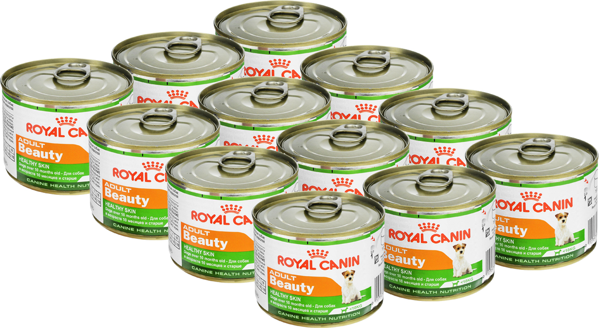 Консервы Royal Canin Adult Beauty, для собак в возрасте 10 месяцев и старше, 195 г, 12 шт49335Консервы Royal Canin Adult Beauty создан специально для взрослых собак с 10 месяцев и старше, весом до 10 кг. Предназначен для поддержания здоровья шерсти и кожи. Формула Beauty обогащена жирными кислотами и содержит специальный защитный комплекс. Состав: мясо и мясные субпродукты, злаки, субпродукты растительного происхождения, минеральные вещества, масла и жиры. Гарантированный анализ: белки - 9,6 %, жиры - 6,4 %, минеральные вещества - 2 %, клетчатка пищевая - 2 %, влажность - 74 %, медь - 2,3 мг/кг.Добавки (в 1 кг): витамин D3: 128 ME, железо - 15 мг, йод - 0,25 мг, марганец - 4,4 мг, цинк - 43 мг. Товар сертифицирован.