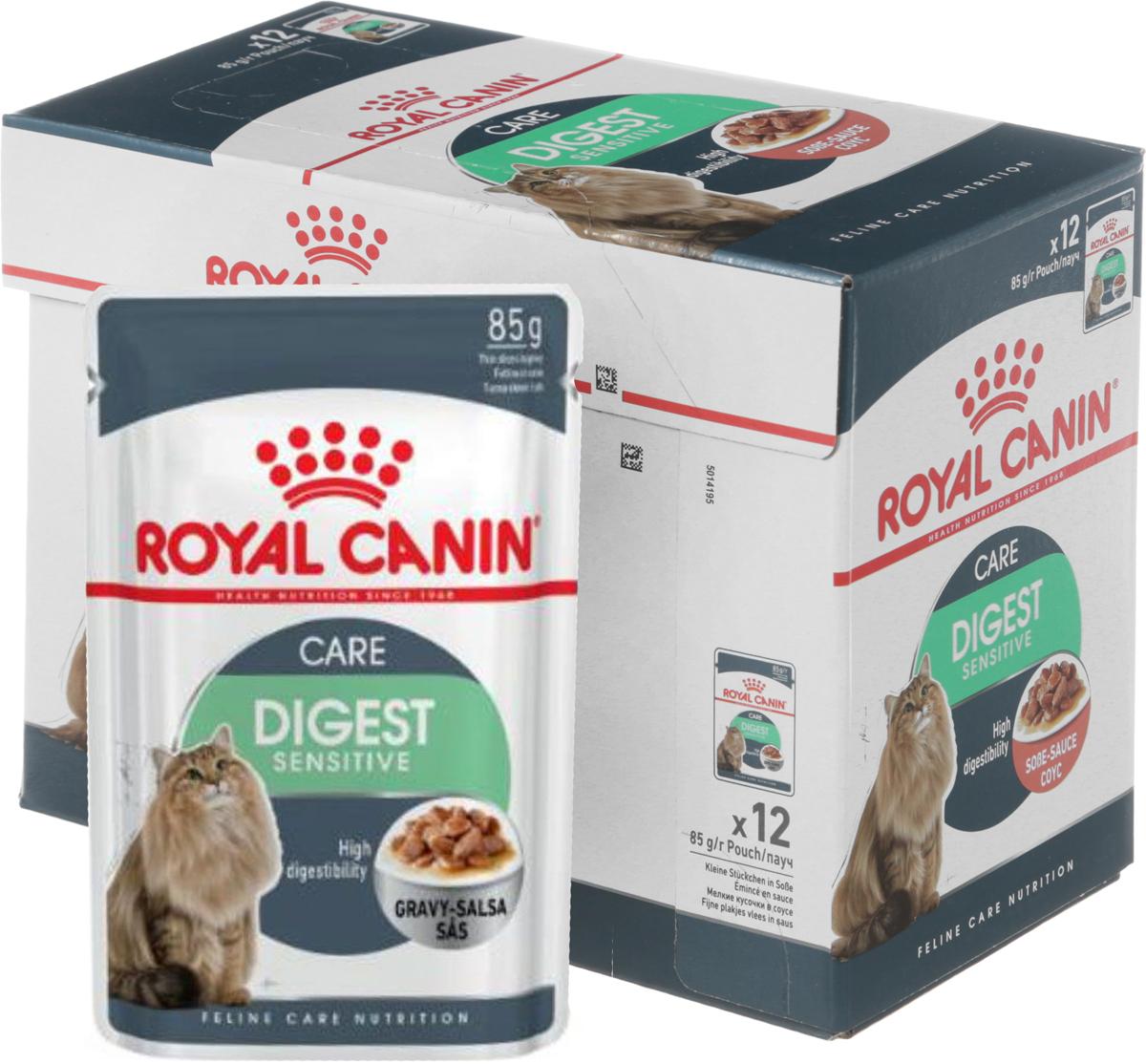 Консервы Royal Canin Digest Sensitive, для кошек с чувствительным пищеварением, мелкие кусочки в соусе, 85 г, 12 шт46763Консервы Royal Canin Digest Sensitive - полнорационный влажный корм кошек с чувствительным пищеварением. Кусочки в соусе для улучшения пищеварения у взрослых домашних кошек старше 1 года. Кошки, не выходящие на улицу, имеют низкую физическую активность и малоподвижный образ жизни, поэтому они могут испытывать проблемы с пищеварением. В пищеварительном тракте кошки сбалансировано сосуществуют более 500 видов бактерий. При нарушении пищеварения этот баланс может быть нарушен, что может привести к нежелательным эффектам: скоплению газов и жидкому стулу с резким запахом. Для кошек с чувствительным пищеварением необходим рацион, содержащий легкоусвояемые белки и способствующий поддержанию идеального веса. Высокоусвояемый корм Digest Sensitive содержит легко усваиваемые белки, обладает исключительной аппетитностью и умеренной калорийностью, уменьшает запах фекалий. Поддержание идеального веса. Специально разработанные кусочки в соусе исключительной аппетитности и умеренной калорийности способствуют поддержанию идеального веса тела кошки. Здоровая мочевыводящая система. Корм помогает поддерживать здоровье мочевыделительной системы кошки, сокращая концентрацию минеральных веществ, способствующих образованию мочевых камней. В рацион домашнего любимца нужно обязательно включать консервированный корм, ведь его главные достоинства - высокая калорийность и питательная ценность. Консервы лучше усваиваются, чем сухие корма. Также важно, что животные, имеющие в рационе консервированный корм, получают больше влаги. Состав: мясо и мясные субпродукты, злаки, экстракты белков растительного происхождения, субпродукты растительного происхождения, минеральные вещества, углеводы. Добавки (в 1 кг): Витамин D3: 175 ME, Железо: 9,3 мг, Йод: 0,4 мг, Марганец: 2,9 мг, Цинк: 29 мг. Товар сертифицирован.