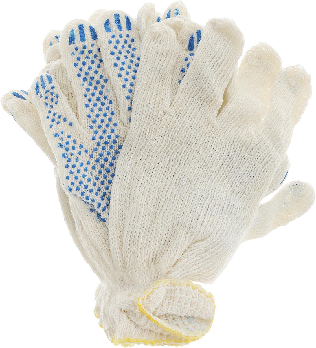 Перчатки Вихрь, с ПВХ покрытием, 5 пар73/4/1/1Вязаные перчатки Вихрь, выполненные из хлопка и полиэфира, предназначены для строительных и погрузочно-разгрузочных работ. Ладонная часть усилена слоем из ПВХ материала, что обеспечивает дополнительную защиту рук.