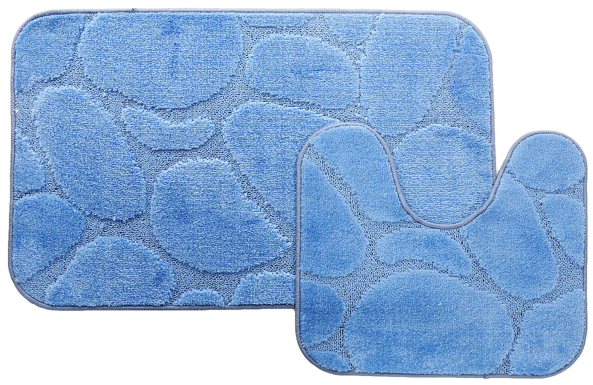 Набор ковриков для ванной MAC Carpet Рома. Камни, цвет: темно-голубой, 60 х 100 см, 50 х 60 см, 2 шт21826Набор MAC Carpet Рома. Камни, выполненный из полипропилена, состоит из двух ковриков для ванной комнаты, один из которых имеет вырез под унитаз. Противоскользящее основание изготовлено из термопластичной резины. Коврики мягкие и приятные на ощупь, отлично впитывают влагу и быстро сохнут. Высокая износостойкость ковриков и стойкость цвета позволит вам наслаждаться покупкой долгие годы. Можно стирать вручную или в стиральной машине на деликатном режиме при температуре 30°С.