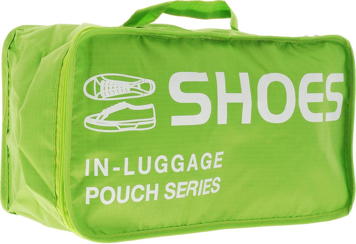 Colibri Чехол для обуви, цвет: зеленый, 34 х 19 х 13 смCW5750 (Green)Чехол для обуви Colibri выполнен из 100% полиэстера. Закрывается на молнию. Изделие предназначено для хранения и транспортировки обуви. Благодаря небольшим размерам не займет много места у вас в чемодане. Для переноски предусмотрена ручка. Верх дополнен надписью: Shoes In Luggage Pouch Series.