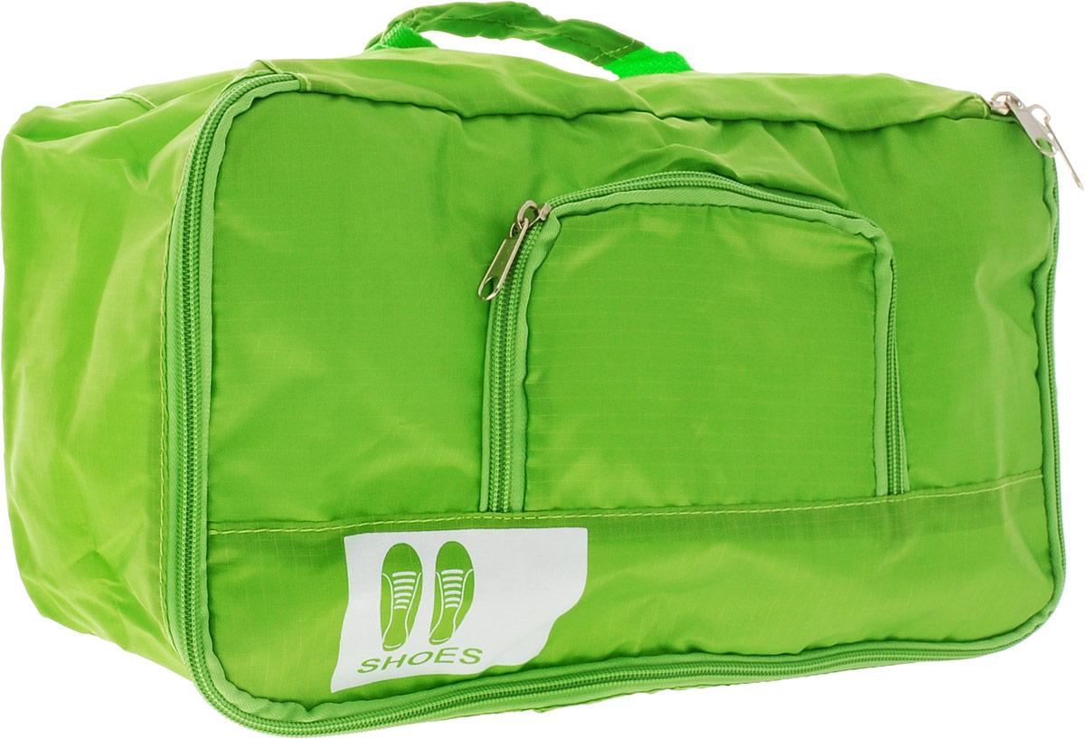 Colibri Чехол для обуви, цвет: зеленый.JBB103 (GREEN)Чехол для обуви Colibri выполнен из 100% полиэстера. Изделие закрывается на молнию, спереди расположен небольшой накладной кармашек на молнии. Чехол предназначен для хранения и транспортировки обуви. Компактный и удобный чехол не займет много места в чемодане. Для переноски предусмотрена ручка.