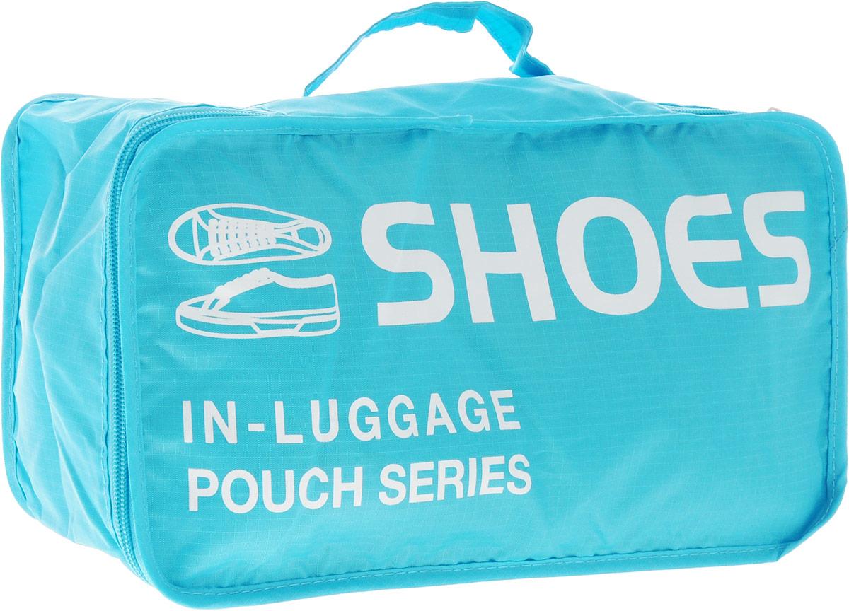 Colibri Чехол для обуви, цвет: голубой.CW5750 (Blue)Чехол для обуви Colibri выполнен из 100% полиэстера. Закрывается на молнию. Изделие предназначено для хранения и транспортировки обуви. Благодаря небольшим размерам не займет много места у вас в чемодане. Для переноски предусмотрена ручка. Верх дополнен надписью: Shoes In Luggage Pouch Series.