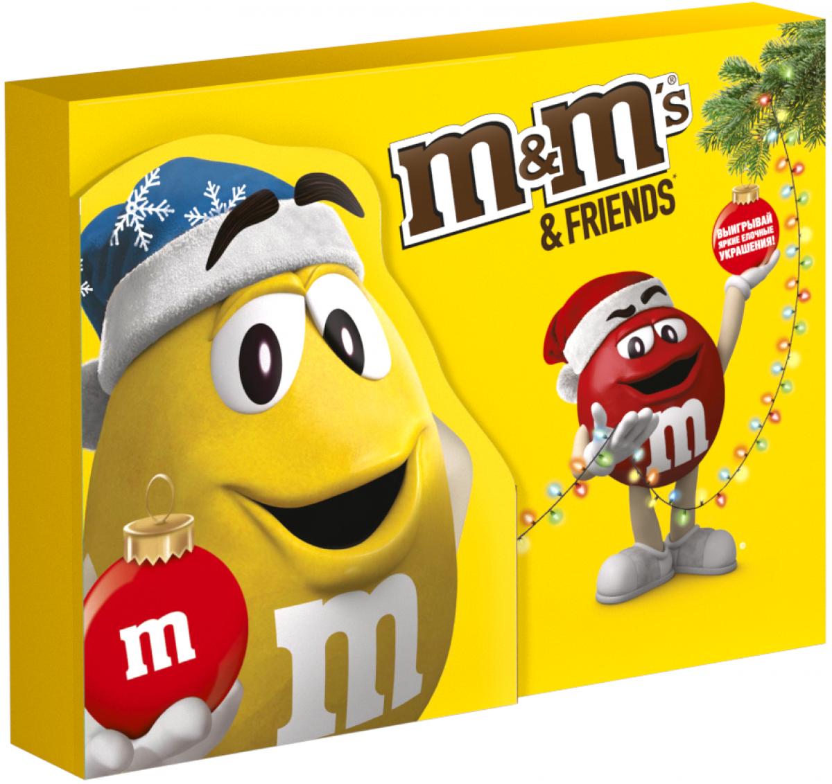 M&Ms and Friends подарочный набор кондитерских изделий, 675 г4607065379971Новогодний набор M&Ms и Друзья - отличный подарок для родных, близких, детей и коллег! В наборе - только самые известные и любимые шоколадные батончики, конфеты и драже: Сникерс, Твикс, Баунти и, кончено же, M&Ms! Яркая упаковка дополняет этот разнообразный ассортимент и делает ваш подарок по-настоящему незабываемым!