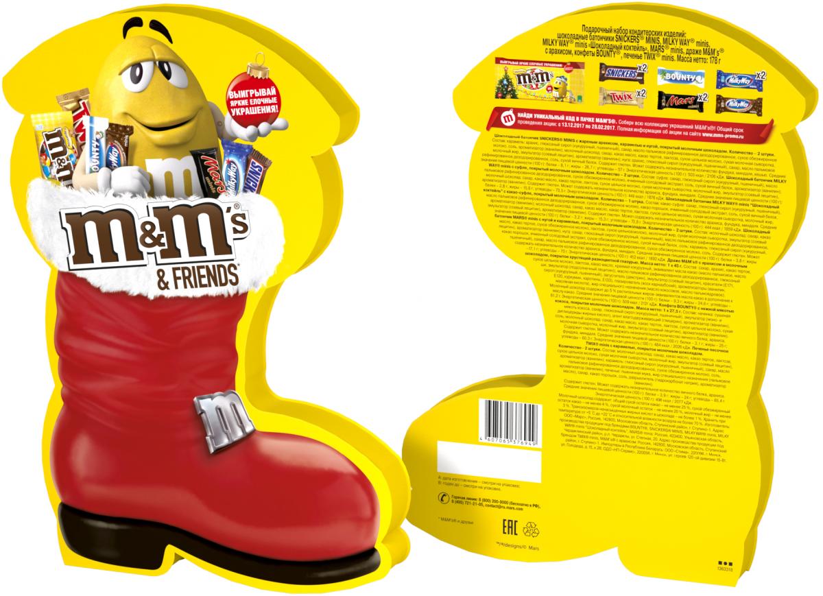 M&Ms and Friends Сапожок подарочный набор, 178 г4607065379988Новогодний набор M&Ms и Друзья - отличный подарок для родных, близких, детей и коллег! В наборе - только самые известные и любимые шоколадные батончики, конфеты и драже: Сникерс, Твикс, Баунти и, кончено же, M&Ms! Яркая упаковка дополняет этот разнообразный ассортимент и делает ваш подарок по-настоящему незабываемым!
