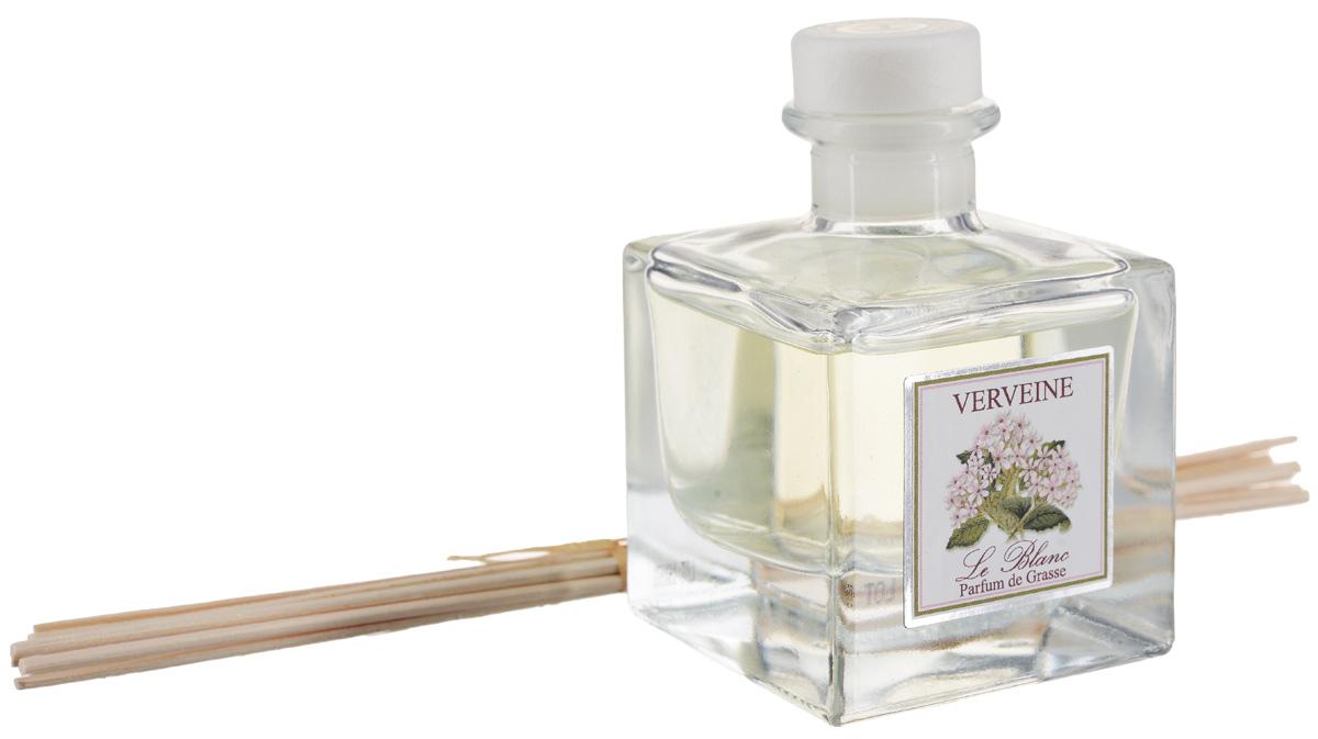 Диффузор ароматический Le Blanc Вербена, 50 мл2000000050591Нежные, пестреющие разными оттенками маленькие цветы с таким же нежным, но чудесным и проникающим в душу ароматом. Изысканный и тонкий запах вербены используется и для дорогих ликёров, и для парфюмерии. Это свежий и эксклюзивный аромат, слегка напоминающий аромат лимона. Запах терпкий и одновременно изысканно-сладкий. Диффузор, упакованный в подарочную коробку, будет отличным подарком. В комплект входит емкость с жидкостью в выбранном объеме, тростниковые палочки, картонная коробочка.