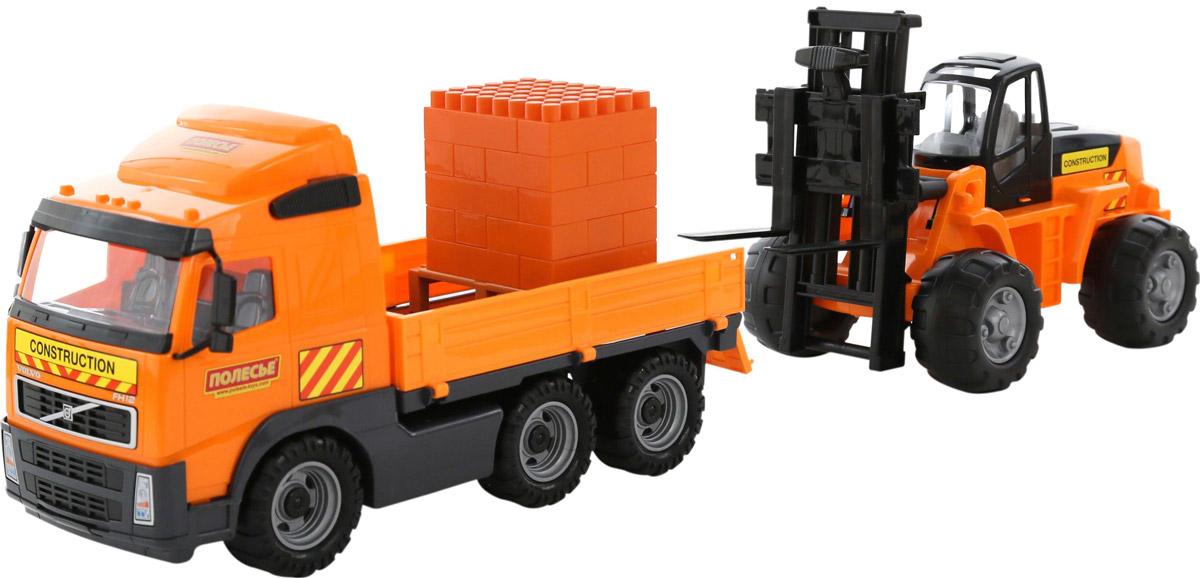 Полесье Грузовик бортовой Volvo + автокар + конструктор Супер-Микс в цвет оранжевый серый