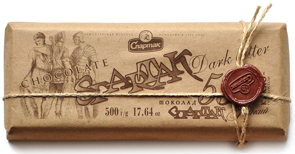 Спартак шоколад горький 56%, 500 г8413Приятный насыщенный вкус и чудесный аромат, элегантная строгость вкуса и 56% отборных какао-продуктов.