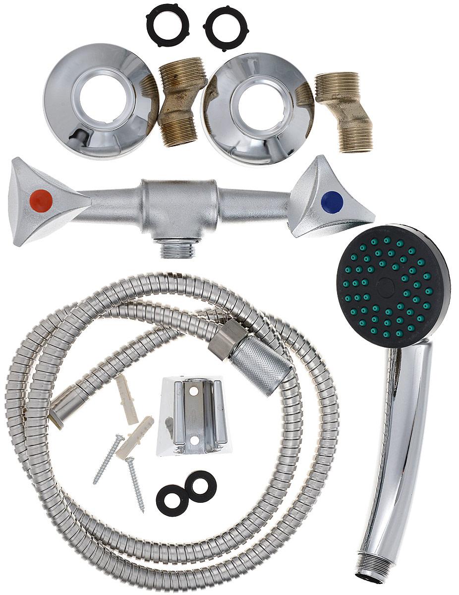 Смеситель для душа РМС, цвет: хром. SL119-003SL119-003Двуручковый смеситель для душа РМС, предназначенный для смешивания холодной и горячей воды, выполнен из высококачественной латуни повышенной прочности, устойчивой к коррозии. В комплекте имеются эксцентрики, отражатели, металлический шланг для душа и лейка для душа.Длина шланга: 1,2 м.