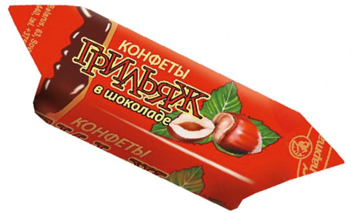 Спартак Грильяж в шоколаде конфеты, 150 г7755Шоколадные конфеты с начинкой из обжаренных лесных орешков в карамельной массе. Знакомый с детства Грильяж в шоколаде.