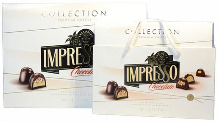 Impresso премиум набор шоколадных конфет белый, 424 г8592Нежный белый. В состав набора входят шоколадные конфеты Пралине + фундук, Пралине + дробленый фундук, а также шоколадные конфеты Ореховый твист с фундуком и Ореховый твист с дробленым фундуком.