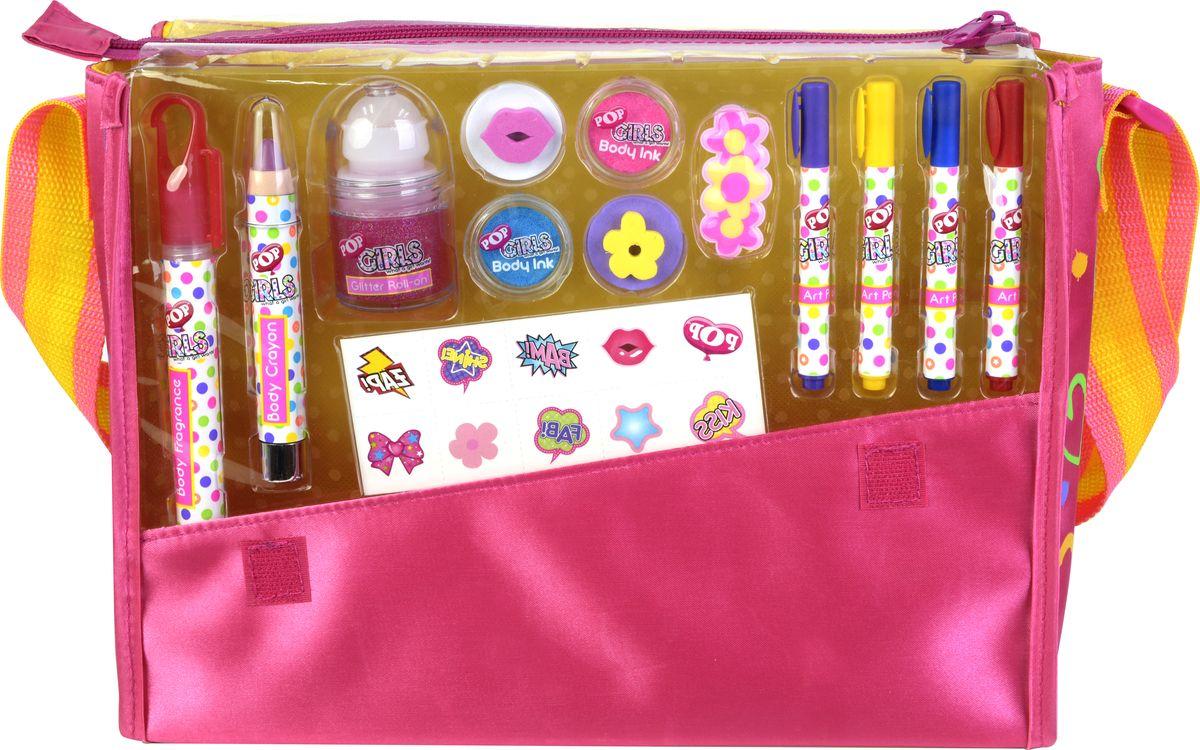 Markwins Игровой набор детской декоративной косметики POP 37046513704651Состав набора: сумка 1 шт., парфюмированый спрей для тела 1 шт., косметический карандаш 1 шт., мерцающий гель для тела с блёстками 1 шт., краски для тела 2 шт., штампы 2 шт., заколочка для волос 1 шт., фломастеры для декорирования сумки 4 шт., переводные рисунки для тела 1 лист.