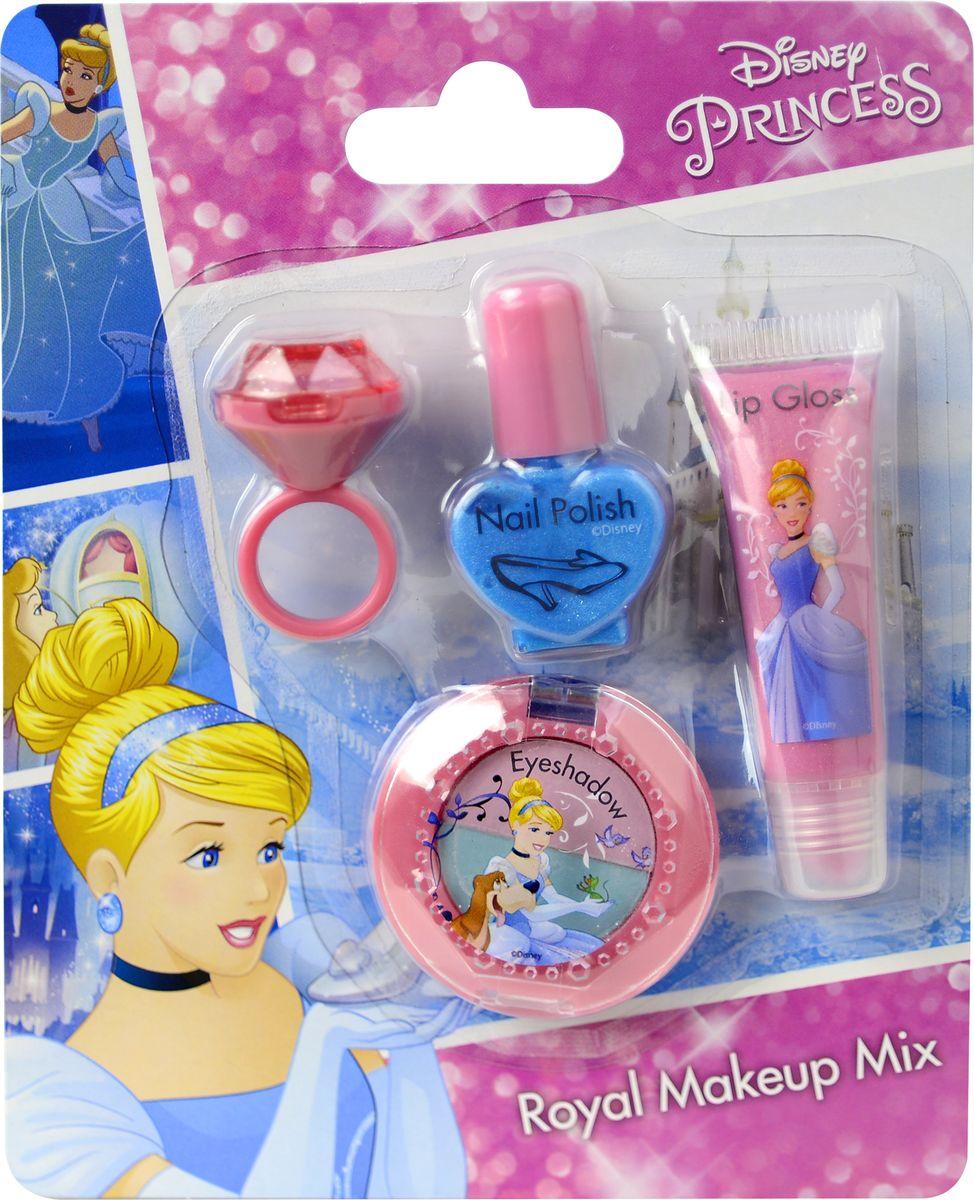 Markwins Игровой набор детской декоративной косметики Princess 97154519715451Состав набора: блеск для губ в колечке 1 шт., лак для ногтей на водной основе 1 шт., блеск для губ в тубе 1 шт., двойные тени для век 1 шт.