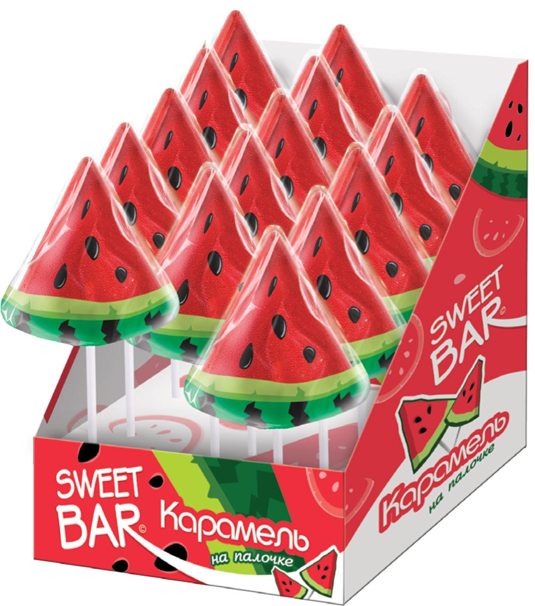 Конфитрейд Sweet Bar Арбузик карамель на палочке, 15 шт по 40 гУТ22191Карамель на палочке плоская в форме ананаса - ребристый плод и листики