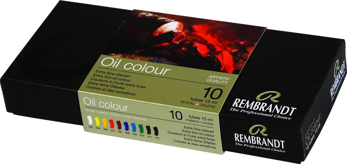 Royal Talens Набор масляных красок Rembrandt 10 цветов01820310Масляные краски Rembrandt – это профессиональные краски исключительно высокого качества и традиций производства с 1899 г. Благодаря высокой концентрации натурального пигмента достигается чистота, насыщенность и глубина цвета. Широкая цветовая палитра и отличный баланс укрывистых и прозрачных оттенков позволят воплотить любые замыслы художника. Работы, написанные масляными красками Rembrandt, на долгие годы сохранят свое великолепие, а цвета не потускнеют и не потеряют интенсивности.Уровень Artist. Основные характеристики:Оптимальная интенсивность цвета с высокой концентрацией пигмента (не содержит наполнителей)Максимальная светостойкость (гарантия сохранения цвета у большинства оттенков – 100 лет)Единая степень вязкостиПалитра из 120 цветов