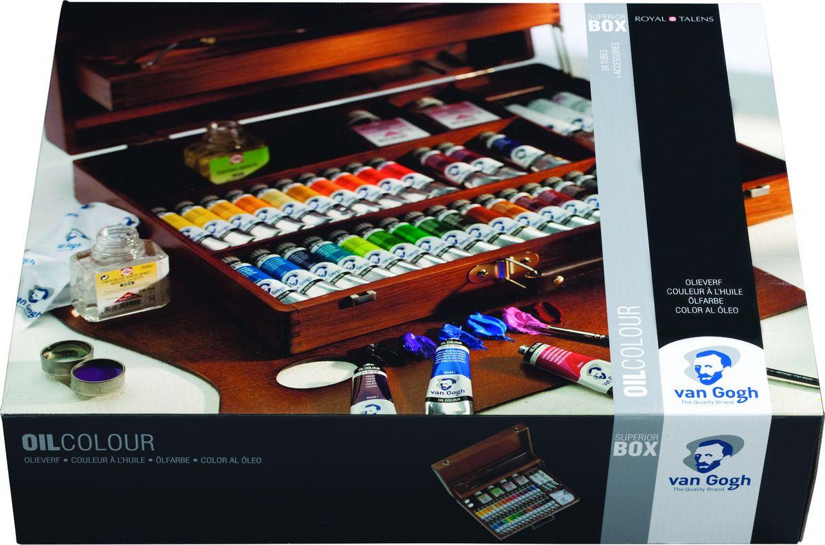Royal Talens Набор масляных красок Van Gogh Максимальный 34 цвета02843425Масляные краски Van Gogh – это современная линейка ярких и насыщенных оттенков с высоким содержанием пигмента. Все краски обладают одинаковой степенью плотности, прекрасно смешиваются между собой, с ними легко работать. Цветовой диапазон включает как укрывистые так и прозрачные краски, что позволяет создать эффект глубины картины.Основные характеристики:Высокое содержание пигментовСветостойкие (гарантия сохранения цвета у большинства оттенков - 100 лет)Яркие, интенсивные оттенкиРавномерная степень блеска и плотности цветов Палитра из 66 цветов