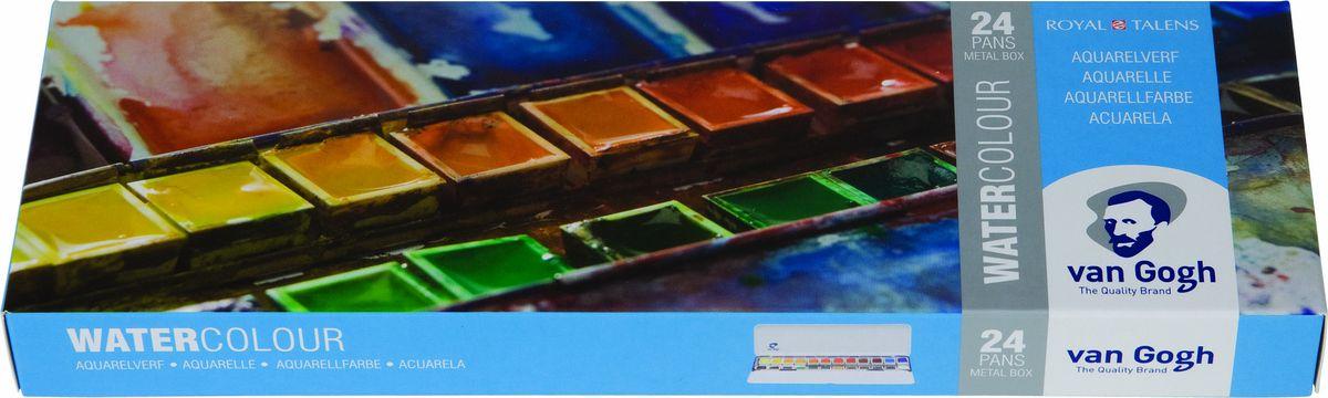 Royal Talens Набор акварельных красок Van Gogh 24 цвета 2083862420838624Акварельные краски Van Gogh - это великолепные яркие цвета с высокой степенью прозрачности. Краски изготавливаются из натуральных пигментов с примесью чистого гуммиарабика, благодаря чему акварель остается светостойкой даже при сильном разбавлении водой, при этом картины не выцветают в течение многих лет. Благодаря короткому времени высыхания, акварель не расплывается по бумаге - картина сохраняет четкость и безупречный переход от полупрозрачных оттенков к насыщенным.Основные характеристики:Высокая степень прозрачностиЛегкость нанесения на поверхностьСветостойкие (гарантия сохранения цвета у большинства оттенков - 100 лет)Единая степень вязкостиЯркие оттенкиПалитра из 40 цветов