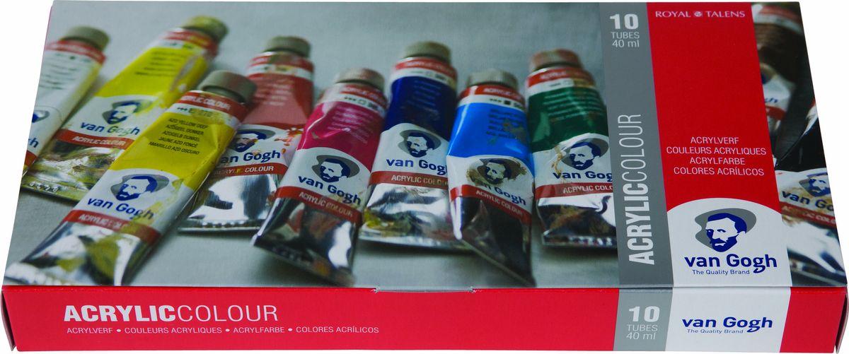 Royal Talens Набор акриловых красок Van Gogh Базовый 10 цветов 2282051022820510Акриловые краскиVan Gogh изготавливаются только из высококачественных пигментов.Краски имеют яркие насыщенные оттенки, высокую степень содержания пигмента, плотную текстуру и великолепную светостойкость.