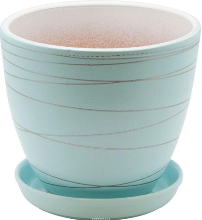 Горшок цветочный Engard, с поддоном, цвет: голубой, 1,4 лBH-24-1Керамический горшок - это идеальное решение для выращивания комнатных растений и создания изысканности в интерьере. Керамический горшок сделан из высококачественной глины в классической форме и оригинальном дизайне.