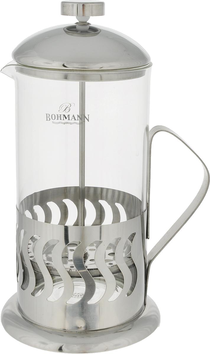 Френч-пресс Bohmann Волна, 1 л9510BH/NEW_волнаФренч-пресс Bohmann Волна станет прекрасным выбором для повседневного использования, встречи гостей или небольших вечеринок. Колба, изготовленная их закаленного стекла, сохранит свежесть и аромат напитка. А конструкция френч-пресса, встроенного в крышку, прекрасно отфильтрует чай и кофе от заварочной гущи. Удобная ручка обеспечит надежную фиксацию в руке. Утолщенный ободок колбы повышает прочность и продлевает срок службы изделия. Насыпьте чай или кофе в стеклянную колбу, добавьте горячей воды и закройте стакан пресс-фильтром. Подождите 3-5 минут, затем медленно опустите пресс-фильтр до упора. Приятного чаепития. Френч-пресс Bohmann Волна позволит быстро и просто приготовить чай или свежий и ароматный кофе. Объем: 1 л.Диаметр (по верхнему краю): 9,5 см. Высота стенки (с учетом крышки): 24 см.