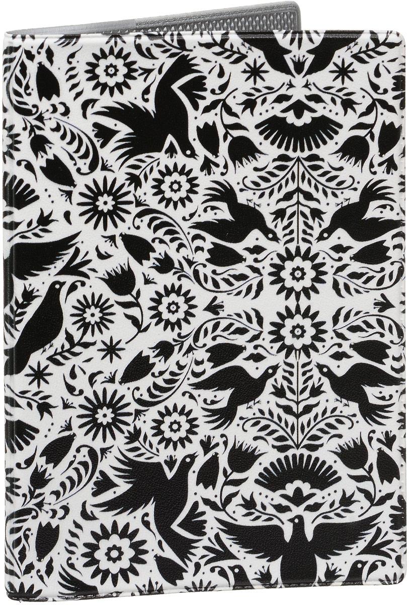 Обложка для паспорта Mitya Veselkov  Орнамент с птицами , цвет: черный, белый. OZAM437 - Обложки для паспорта