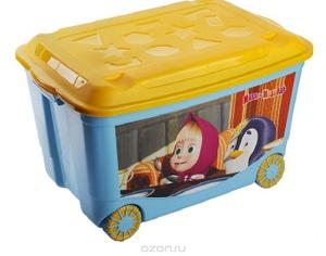 Купить Пластишка Ящик для игрушек Маша и Медведь на колесиках цвет голубой желтый 58 см х 39 см х 33 см - детские товары Idea (М-пластика) в интернет-магазине OZON.ru, цена пластишка ящик для игрушек маша и медведь на колесиках цвет голубой желтый 58 см х 39 см х 33 см.
