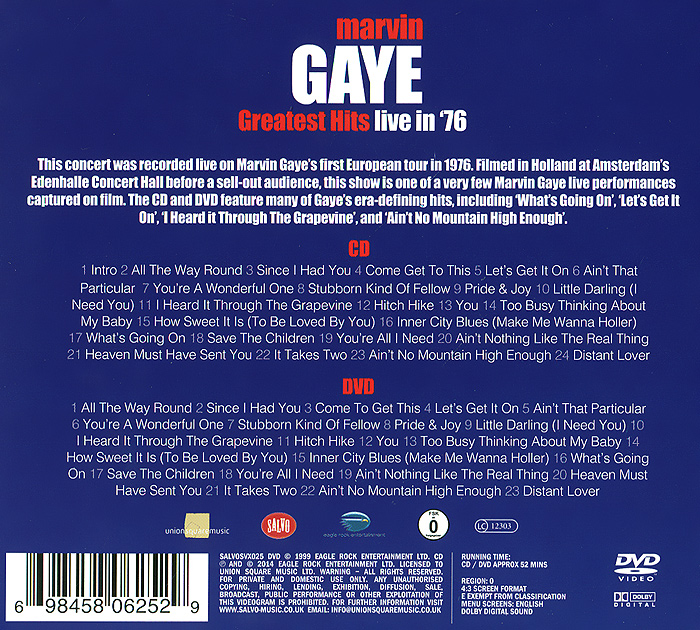 Marvin Gaye.  Greatest Hits Live In '76 (CD + DVD) Eagle Rock Entertainment Ltd,Концерн