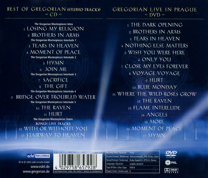 Gregorian.  The Masterpieses (CD + DVD) Edel Records,Концерн