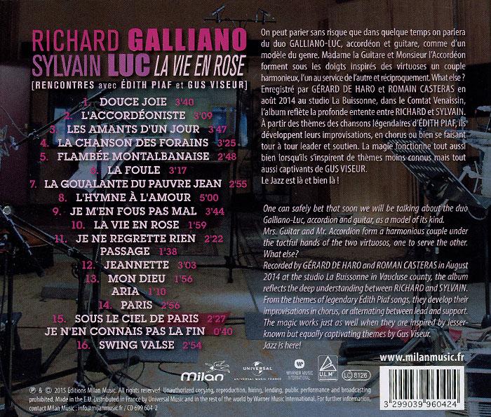 Richard Galliano.  Sylvain Luc.  La Vie En Rose Warner Music,Editions Milan Music