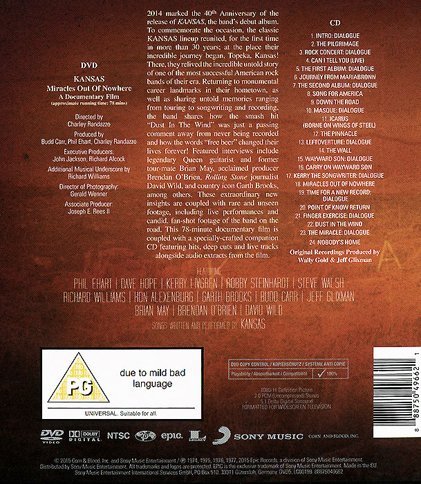 Kansas.  Miracles Out Of Nowhere (CD + DVD) Warner Music,Sony Music Entertainment, Inc.