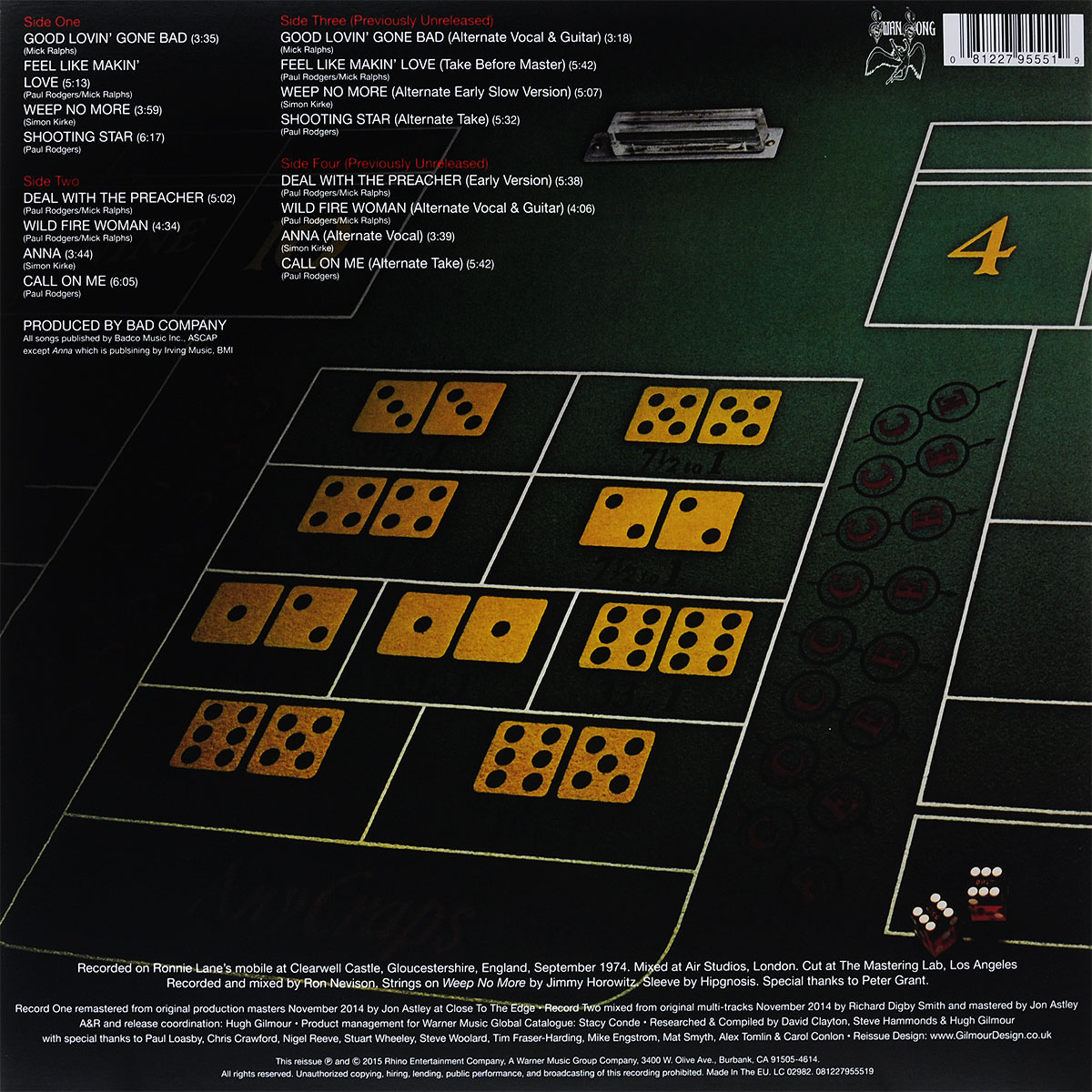 Bad Company.  Straight Shooter (2 LP) Warner Music,Rhino Entertainment Company