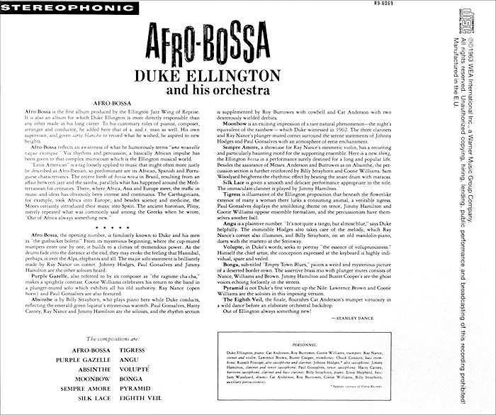 Duke Ellington And His Orchestra.  Afro-Bossa Warner Music,Wea International Inc.