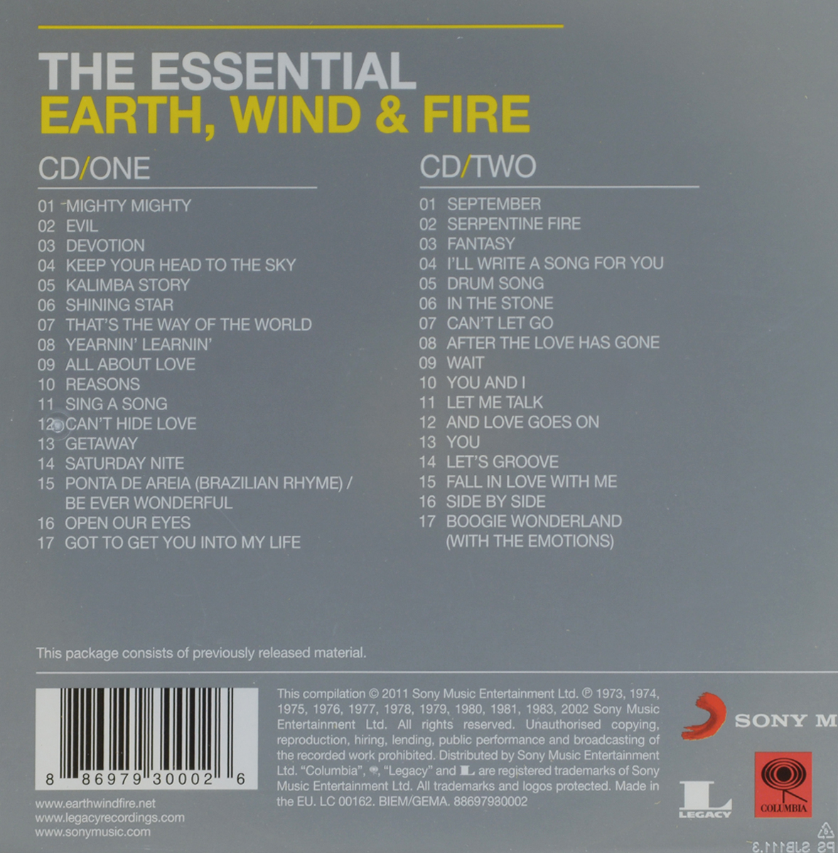 Earth, Wind& Fire.  The Essential (2 CD) Sony Musik Entertainment,Warner Music