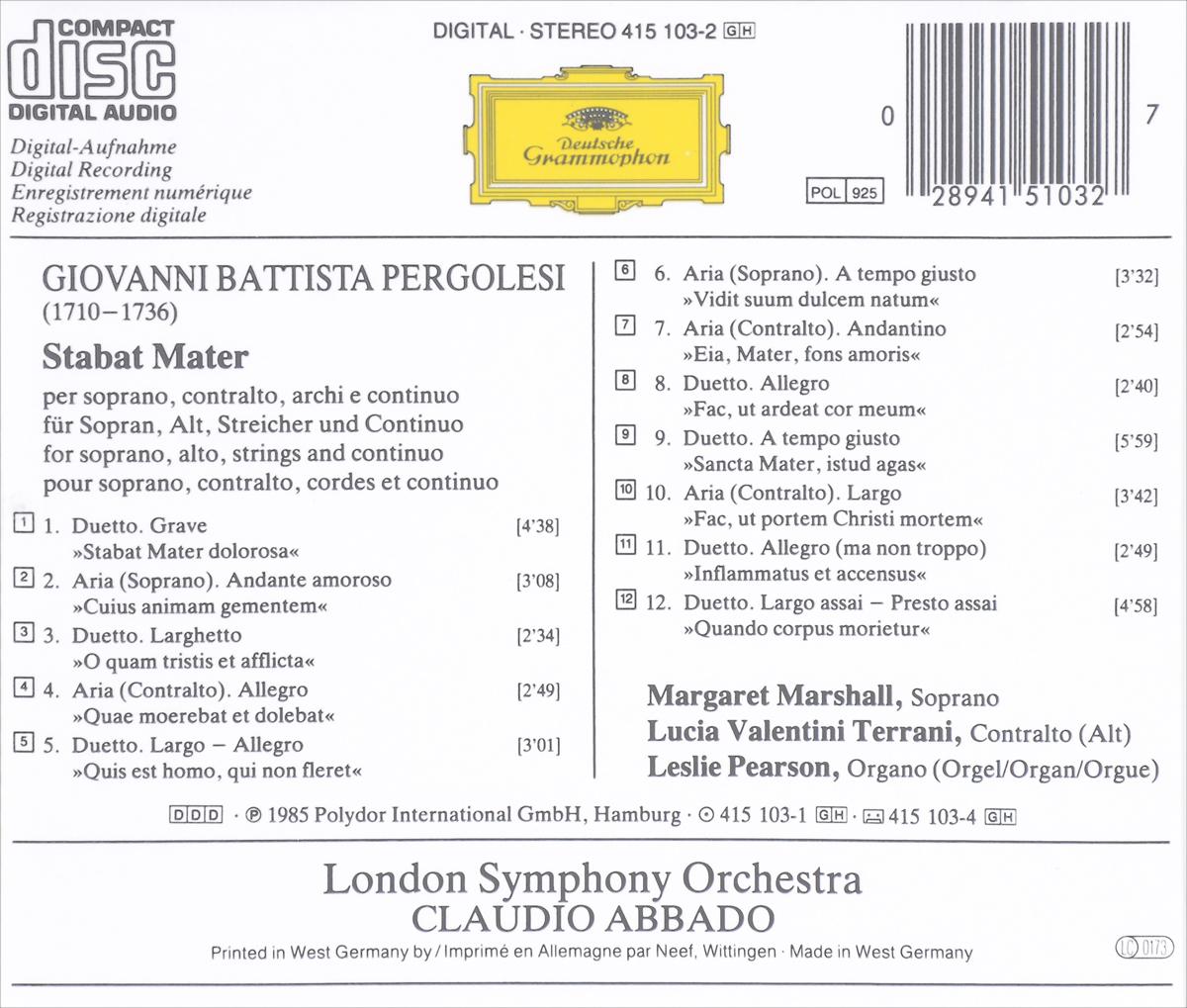 Claudio Abbado, London Symphony Orchestra. Pergolesi. Stabat Mater ООО