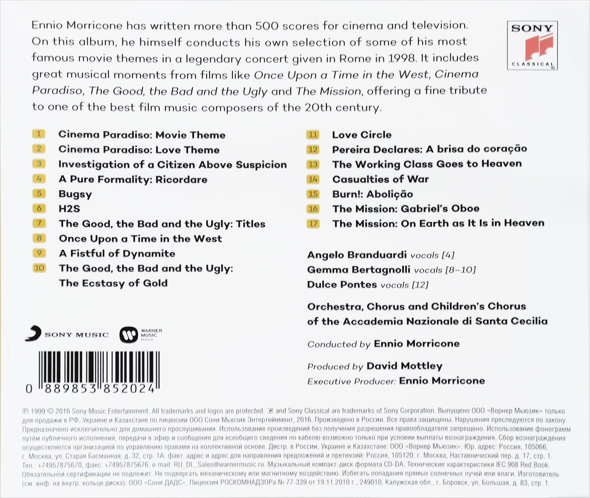 Ennio Morricone.  His Greatest Hits Warner Music