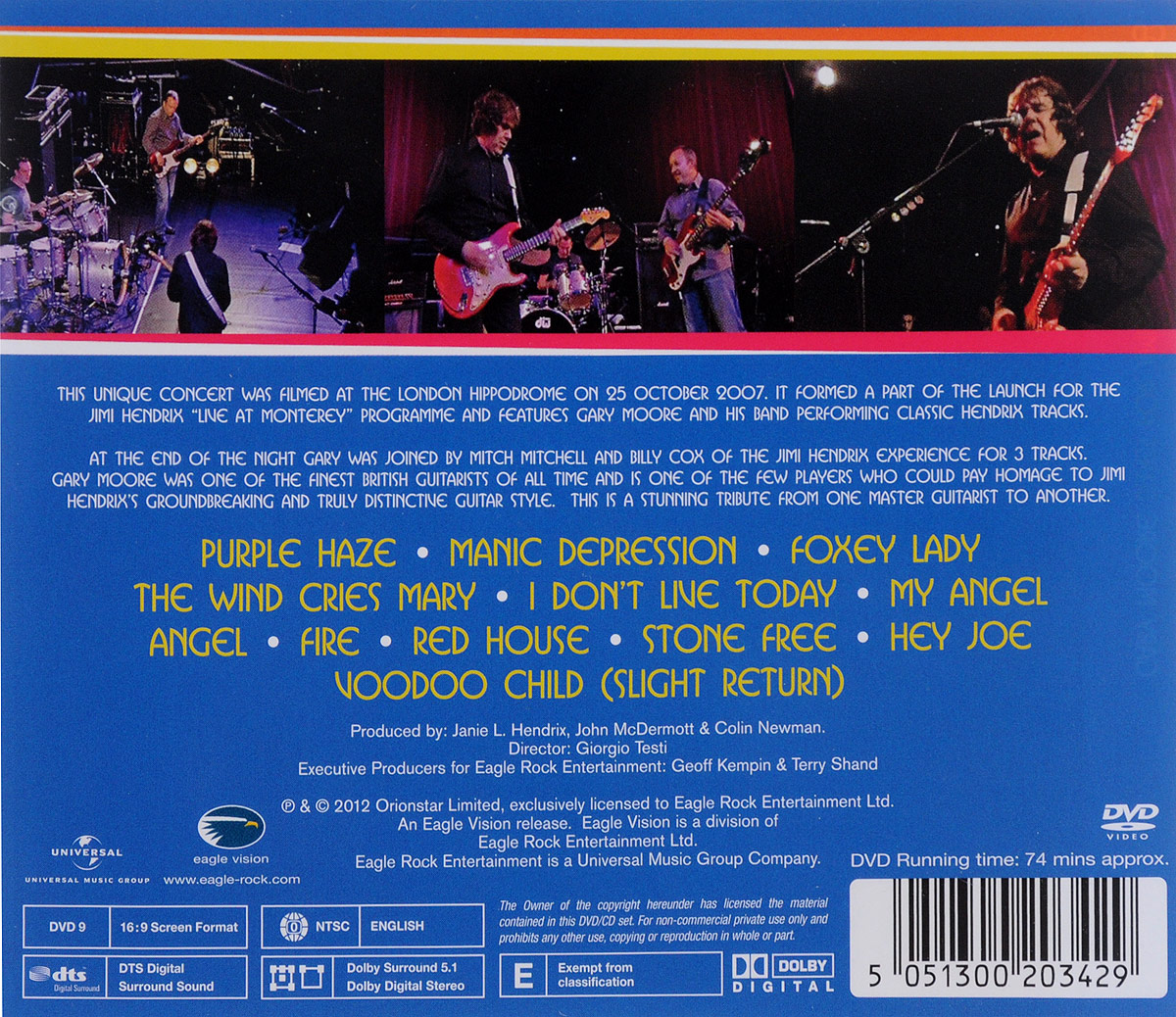 Gary Moore.  Blues For Jimi (CD + DVD) Eagle Vision,ООО