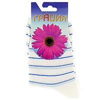 Носки женские Грация, цвет: белый, голубой. М1013. Размер 38/40
