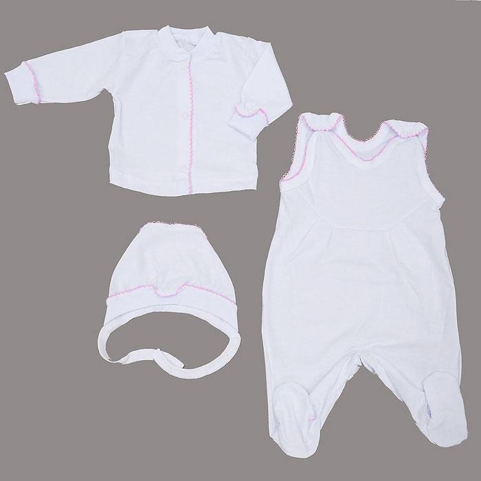 Комплект детский Фреш Стайл: кофточка, ползунки с грудкой, чепчик, цвет: белый, розовый. 11-5013. Размер 50, от 0 месяцев