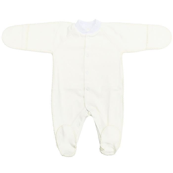 Комбинезон детский Фреш Стайл, цвет: кремовый. 37-523. Размер 62, от 0 до 3 месяцев