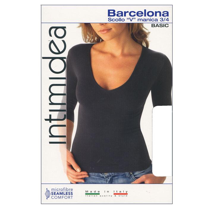 Футболка женская Intimidea Barcellona, цвет: белый (Bianco). Размер M/LIN-T-Shirt Barcellona BiancoЖенская футболка Barcellona с рукавом 3/4 выполнена из микрофибры, она очень мягкая на ощупь, не раздражает даже самую нежную и чувствительную кожу. Вырез горловины оформлен бейкой в цвет изделия.Футболка с V-образным вырезом горловины и длинными рукавами удобна в использовании, ее можно носить как с брюками, так и с юбкой. Отличный вариант для повседневного использования!