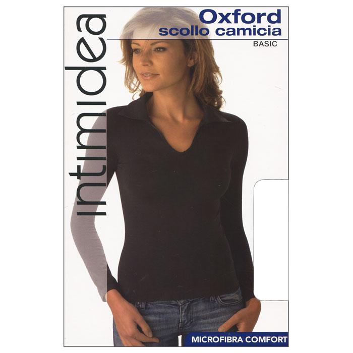 Футболка с длинным рукавом женская Intimidea Oxford, цвет: белый (Bianco). Размер L/XLIN-T-Shirt Oxford BiancoЖенская футболка Oxford с длинным рукавом и с воротником-поло выполнена из микрофибры, она очень мягкая на ощупь, не раздражает даже самую нежную и чувствительную кожу.Футболка очень удобна в использовании, ее можно носить как с брюками, так и с юбкой. Отличный вариант для повседневного использования!