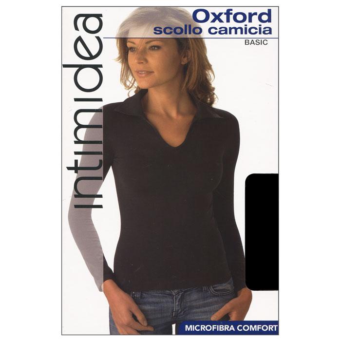 Футболка с длинным рукавом женская Intimidea Oxford, цвет: черный (Nero). Размер M/LIN-T-Shirt Oxford NeroЖенская футболка Oxford с длинным рукавом и с воротником-поло выполнена из микрофибры, она очень мягкая на ощупь, не раздражает даже самую нежную и чувствительную кожу.Футболка очень удобна в использовании, ее можно носить как с брюками, так и с юбкой. Отличный вариант для повседневного использования!
