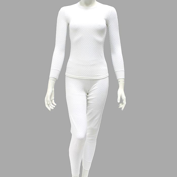 Термобелье с хитофайбером женское Cratex, цвет: белый. 36110. Размер L (48)36110Термобелье Cratex, состоящее из брюк и кофты с длинным рукавом, позволит вам чувствовать себя комфортно при любом морозе! Уникальность термобелья Cratex - в использовании материала 21 века - хитинового волокна (хитофайбера). Хитофайбер -биополимер, изготовленный по новейшей технологии - вытяжки из панциря королевских креветок и крабов с последующим влажным скручиванием. Трикотаж, изготовленный из хитинового волокна, мягкий, тонкий, долговечный, необычайно комфортный и абсолютно антистатичный. Использование хитина выгодно отличает термобелье Cratex от любого другого нательного белья. Вы будете чувствовать себя абсолютно комфортно в широком диапазоне температур (от +10 до -35), так как ткань способствует поддержанию тепло- и влагообмена человеческого тела. Специальная трехслойная структура ткани обеспечивает надежную защиту от холода даже при очень низких температурах. Материал обладает бактериостатическими свойствами, предохраняет от грибка, грамотрицательных и грамположительных бактерий. Подходит для повседневного ношения.